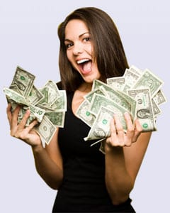 Girl with money in her hand