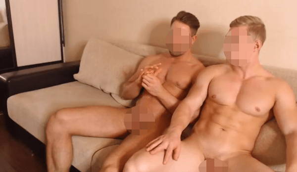 Pair of naked muscle gay boys