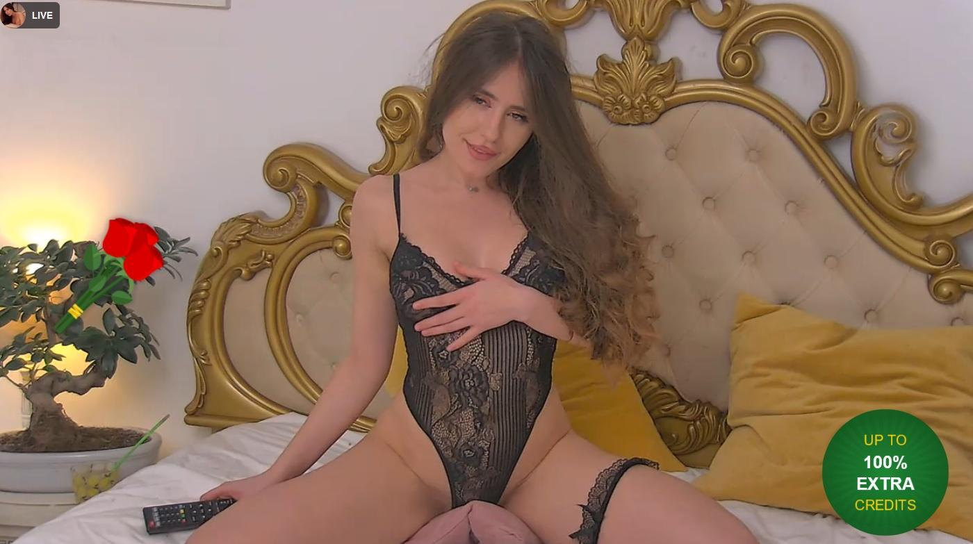Sexy natural girl in luxury lingerie sits on her bed on LiveJasmin show