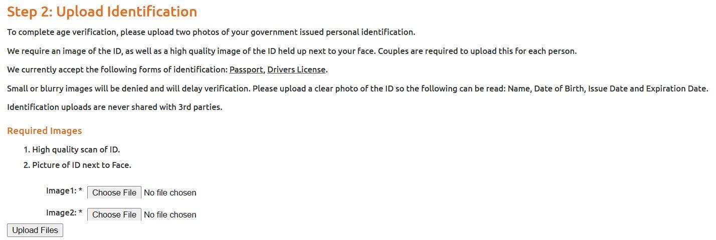 Age verification on Chaturbate include sending id photos
